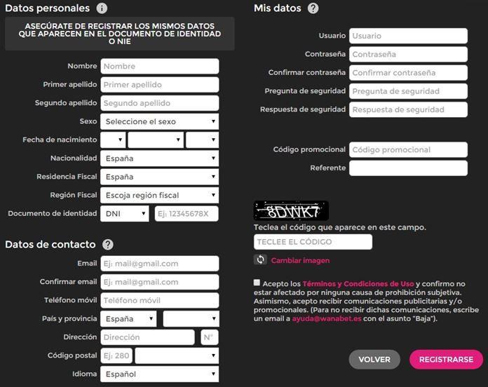 formulario de registro de wanabet