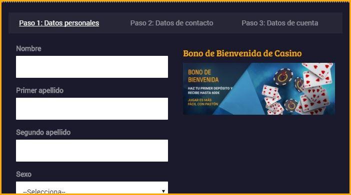 formulario de registro paston.es
