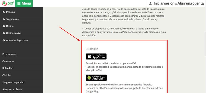 descarga paf app
