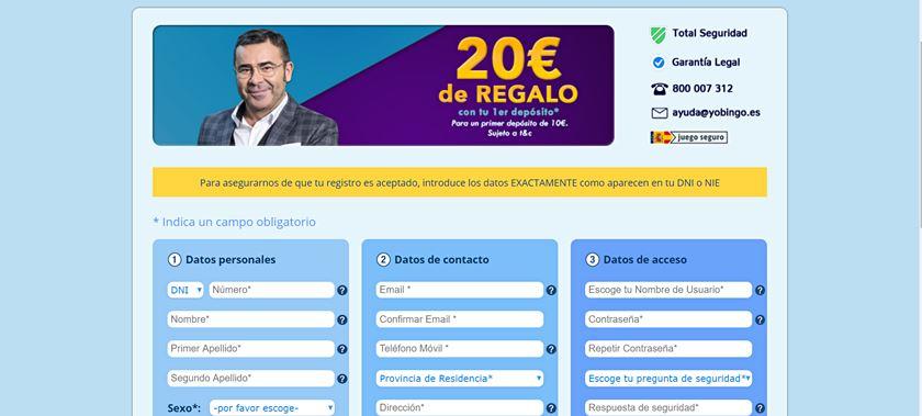 formulario de registro yobingo.es