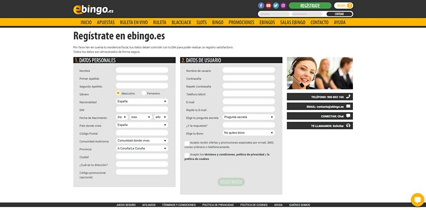 formulario de registro ebingo
