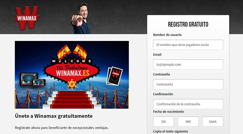 formulario de registro a winamax