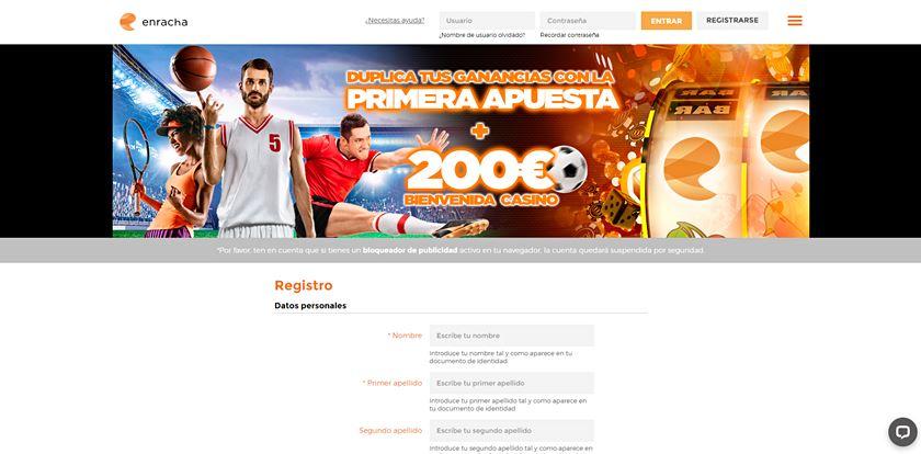 formulario de registro enracha.es