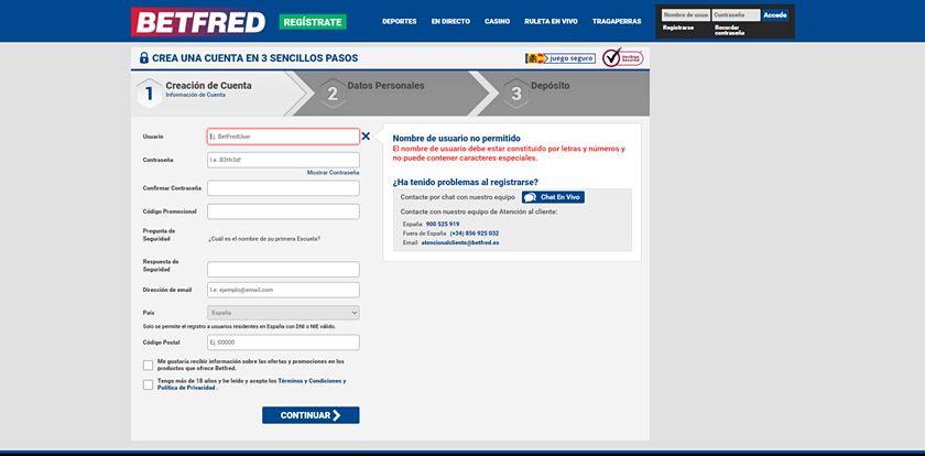 formulario de registro en betfred.es